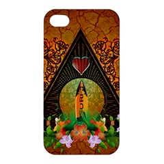Surfing, Surfboard With Flowers And Floral Elements Apple iPhone 4/4S Premium Hardshell Case
