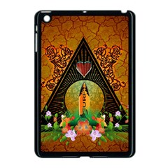Surfing, Surfboard With Flowers And Floral Elements Apple iPad Mini Case (Black)