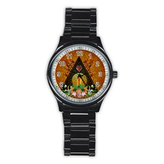 Surfing, Surfboard With Flowers And Floral Elements Stainless Steel Round Watches