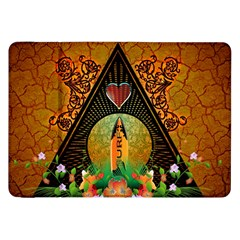 Surfing, Surfboard With Flowers And Floral Elements Samsung Galaxy Tab 8.9  P7300 Flip Case