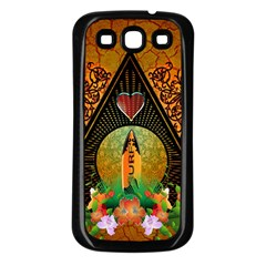 Surfing, Surfboard With Flowers And Floral Elements Samsung Galaxy S3 Back Case (Black)