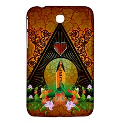 Surfing, Surfboard With Flowers And Floral Elements Samsung Galaxy Tab 3 (7 ) P3200 Hardshell Case