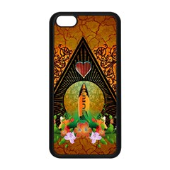 Surfing, Surfboard With Flowers And Floral Elements Apple iPhone 5C Seamless Case (Black)