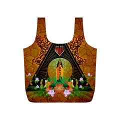 Surfing, Surfboard With Flowers And Floral Elements Full Print Recycle Bags (S)