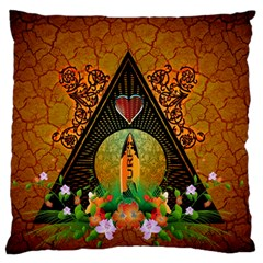 Surfing, Surfboard With Flowers And Floral Elements Large Flano Cushion Cases (one Side)
