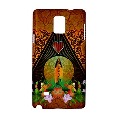 Surfing, Surfboard With Flowers And Floral Elements Samsung Galaxy Note 4 Hardshell Case