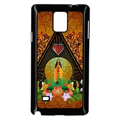 Surfing, Surfboard With Flowers And Floral Elements Samsung Galaxy Note 4 Case (Black)