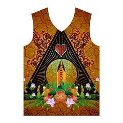 Surfing, Surfboard With Flowers And Floral Elements Men s Basketball Tank Top