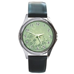 Wonderful Flowers In Soft Green Colors Round Metal Watches