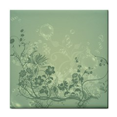 Wonderful Flowers In Soft Green Colors Tile Coasters
