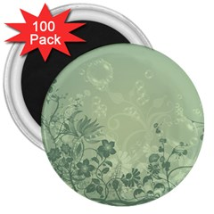 Wonderful Flowers In Soft Green Colors 3  Magnets (100 pack)