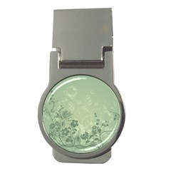 Wonderful Flowers In Soft Green Colors Money Clips (Round)