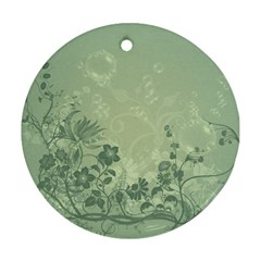 Wonderful Flowers In Soft Green Colors Round Ornament (Two Sides)