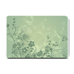 Wonderful Flowers In Soft Green Colors Small Doormat