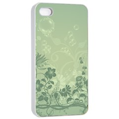 Wonderful Flowers In Soft Green Colors Apple iPhone 4/4s Seamless Case (White)