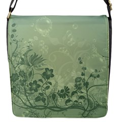 Wonderful Flowers In Soft Green Colors Flap Messenger Bag (S)