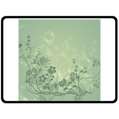 Wonderful Flowers In Soft Green Colors Double Sided Fleece Blanket (Large)