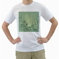Wonderful Flowers In Soft Green Colors Men s T-Shirt (White)