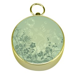 Wonderful Flowers In Soft Green Colors Gold Compasses