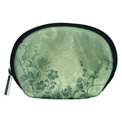 Wonderful Flowers In Soft Green Colors Accessory Pouches (medium)
