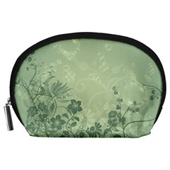 Wonderful Flowers In Soft Green Colors Accessory Pouches (Large)
