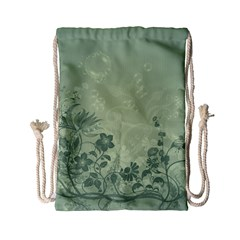 Wonderful Flowers In Soft Green Colors Drawstring Bag (small)