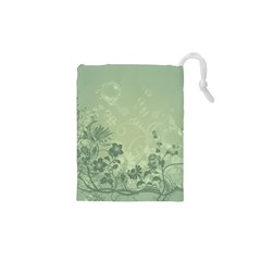 Wonderful Flowers In Soft Green Colors Drawstring Pouches (xs)