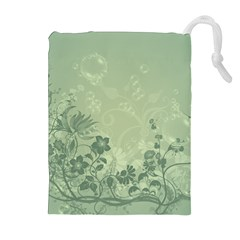 Wonderful Flowers In Soft Green Colors Drawstring Pouches (Extra Large)