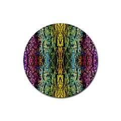Abstract, Yellow Green, Purple, Tree Trunk Rubber Coaster (Round)