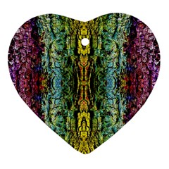 Abstract, Yellow Green, Purple, Tree Trunk Heart Ornament (2 Sides)
