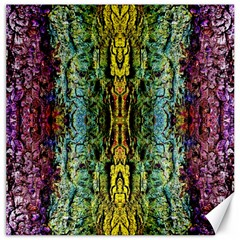 Abstract, Yellow Green, Purple, Tree Trunk Canvas 16  x 16