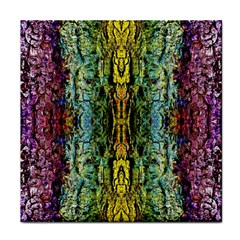 Abstract, Yellow Green, Purple, Tree Trunk Face Towel