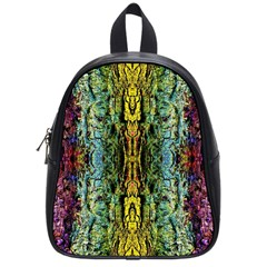 Abstract, Yellow Green, Purple, Tree Trunk School Bags (Small)
