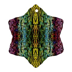 Abstract, Yellow Green, Purple, Tree Trunk Snowflake Ornament (2-Side)