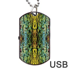 Abstract, Yellow Green, Purple, Tree Trunk Dog Tag USB Flash (One Side)