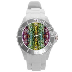 Abstract, Yellow Green, Purple, Tree Trunk Round Plastic Sport Watch (L)