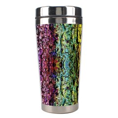 Abstract, Yellow Green, Purple, Tree Trunk Stainless Steel Travel Tumblers