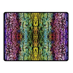 Abstract, Yellow Green, Purple, Tree Trunk Double Sided Fleece Blanket (Small)