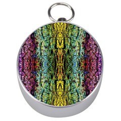 Abstract, Yellow Green, Purple, Tree Trunk Silver Compasses