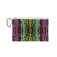 Abstract, Yellow Green, Purple, Tree Trunk Canvas Cosmetic Bag (S)