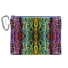 Abstract, Yellow Green, Purple, Tree Trunk Canvas Cosmetic Bag (XL)