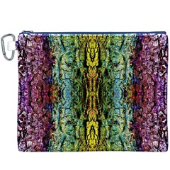 Abstract, Yellow Green, Purple, Tree Trunk Canvas Cosmetic Bag (XXXL)