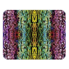 Abstract, Yellow Green, Purple, Tree Trunk Double Sided Flano Blanket (Large)
