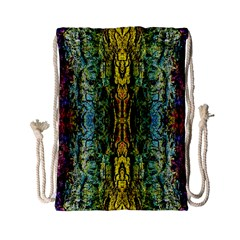 Abstract, Yellow Green, Purple, Tree Trunk Drawstring Bag (small)