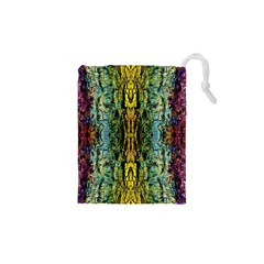 Abstract, Yellow Green, Purple, Tree Trunk Drawstring Pouches (xs)