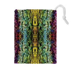 Abstract, Yellow Green, Purple, Tree Trunk Drawstring Pouches (Extra Large)