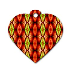 Melons Pattern Abstract Dog Tag Heart (two Sides)