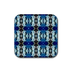 Royal Blue Abstract Pattern Rubber Square Coaster (4 pack)