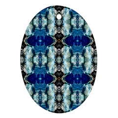 Royal Blue Abstract Pattern Oval Ornament (Two Sides)
