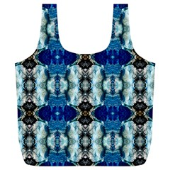 Royal Blue Abstract Pattern Full Print Recycle Bags (L)